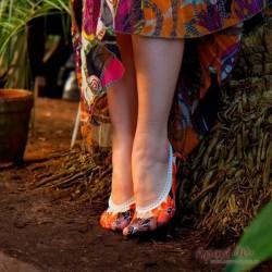 Flerfarget sockettes størrelse 40 -41. orange