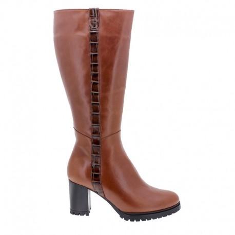 Women's autumn big size wide calf boots (L) PieSanto 205437 toffe