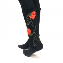 High knee gaiter leg warmers with red flowers