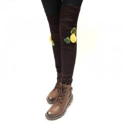 High knee gaiter leg warmers with yellow flowers