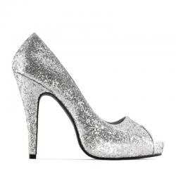 Open toe high-heel shoe Andres Machado AM239 glitter plata