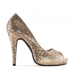 Augstpapēžu kurpes ar atvērtu purgalu Andres Machado AM239 glitter oro
