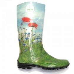 Women's rain boots 100P grass