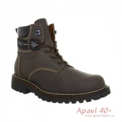 Brown winter boots with genuine sheepskin 21925 Adelboden