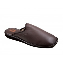 Men's big size leather slippers IN 615PX marron