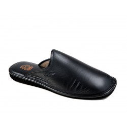 Men's big size leather slippers IN 615PX negro