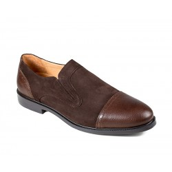 Коричневые мужские туфли большого размера без шнуровки  Jandre 2568-A216