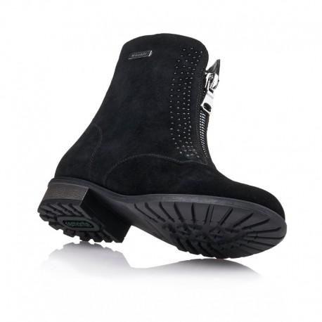 Melni zamšādas ziemas puszābaki ar dabīgu aitādu Remonte R3319-02
